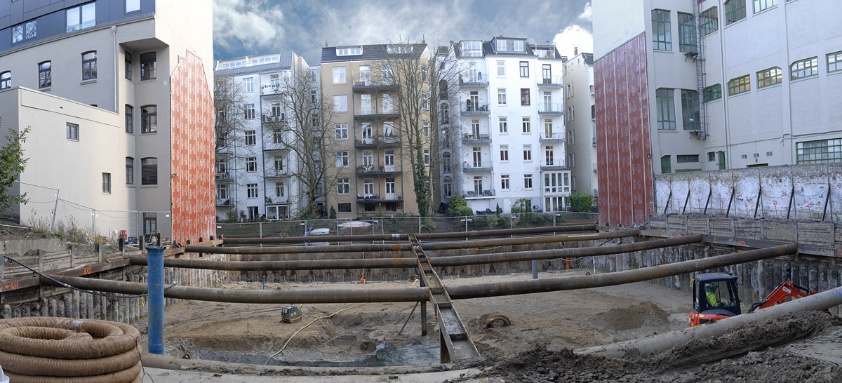Panoramaufnahme des Bebauungsgebiets Hegestraße 46 in Hamburg.