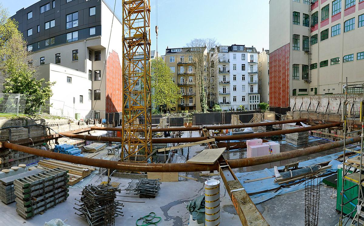 Hegestraße 46. Stand der Bauarbeiten am 7. April 2020.